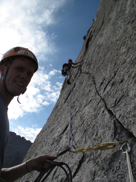 pitch 5 or 6 on &quot;The Barb&quot;, Spearhead, RMNP.... what a spectacular route!!<br>