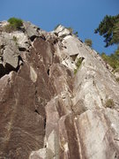 Rock Climbing Photo: The shadowy broken crack cutting into the L edge o...