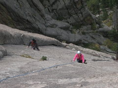 Rock Climbing Photo: Tanya following p2 of White Whale. Climber to her ...