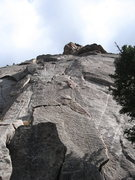 Rock Climbing Photo: Leading up the P1 cracks on Pear Buttress.