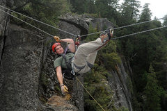 Rock Climbing Photo: Tyrolean Traverse Set-up II  -For heavier climbers...