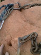Rock Climbing Photo: Gear Alert! - one of the three pitons on the chain...