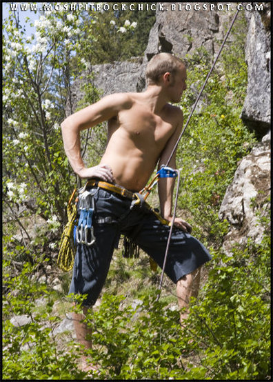 In deep thought while on Belay