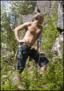 Rock Climbing Photo: In deep thought while on Belay