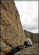 Rock Climbing Photo: The depressed or bored belayer with me on the shar...