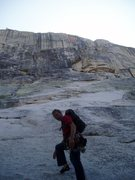 Rock Climbing Photo: walking up the easy approach slabs...