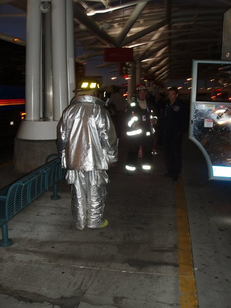 Rock Climbing Photo: Bus fire at DIA on the way home... 20 firemen for ...