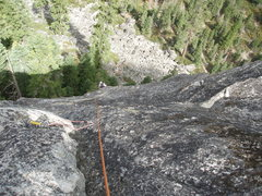 Rock Climbing Photo: Looking down the fun and easy Pitch 2