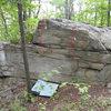 West side of the Lower Wawarsing Boulder: 1. North West Arete (V0), 2. West Face Dyno (V0+), 3. West Face (V0)