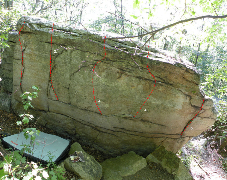 The Back (West side) of the Warwarsing Boulder: 1. U-Turn (V0), 2. Rumble Strip (V1), 3. Slippery When Dry (V1), 4. Hairpin Turn (V1), 5. Guardrail (V0)