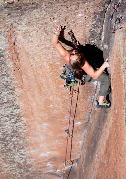 Rock Climbing Photo: Steph making the final moves for her onsight of NM...