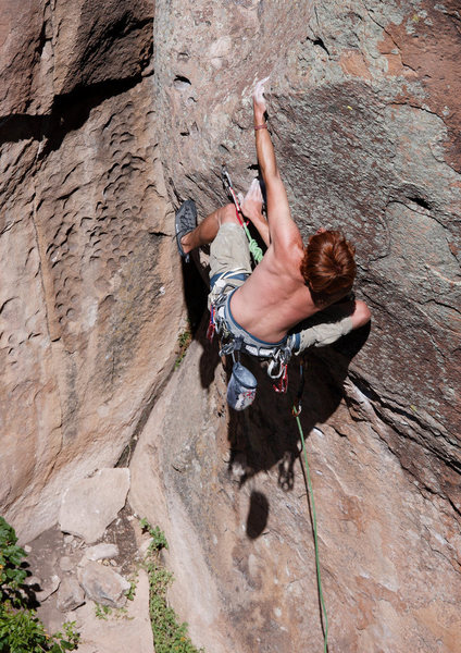 Stephen succeeding with his third different sequence for the crux.