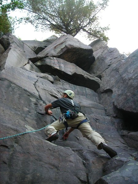 Those fun sloper foot holds at the the start give this route a added flavor for sure...  Doug Hemken leading.