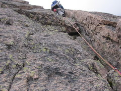 Rock Climbing Photo: Climbing the shallow corner and bomber handcrack o...