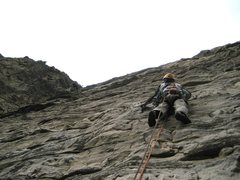 Rock Climbing Photo: Amos Whiting seconding pitch 2.