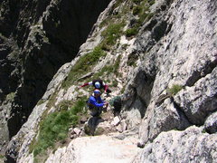 Rock Climbing Photo: Clay and Alex back on route, enjoying the big ledg...