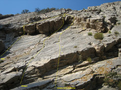 Rock Climbing Photo: Utah Wall - Central Roof Area  Shows three climbs ...