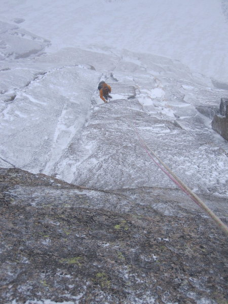rappelling the Crack of Delight on 21-Sept in a pretty heinous snowstorm.  photo credit to Jesse Ramos.