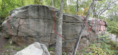 Rock Climbing Photo: The Front (East side) of the Warwarsing Boulder: 1...