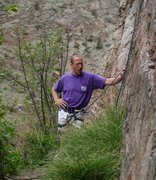 Rock Climbing Photo: Barry explaining the intricate details of the crux...