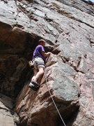 Rock Climbing Photo: Barry leading Diamondback 10b on The Red Slab in C...
