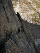 Rock Climbing Photo: A German climber finishing the crux pitch of Syke'...