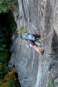 Rock Climbing Photo: Ernie Hansche aka Dad laying back in the crux of R...