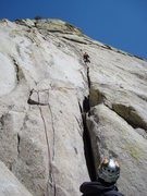 Rock Climbing Photo: Joel K.  leading the first pitch of Innersanctum (...