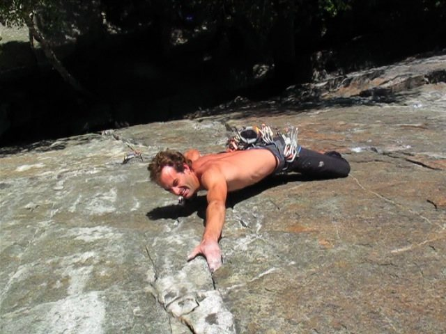 "Rock Climbing Photo: Jamie trying to hold onto slopy ""jug"" mi..."