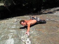 "Rock Climbing Photo: Jamie trying to hold onto slopy ""jug"" mi..."