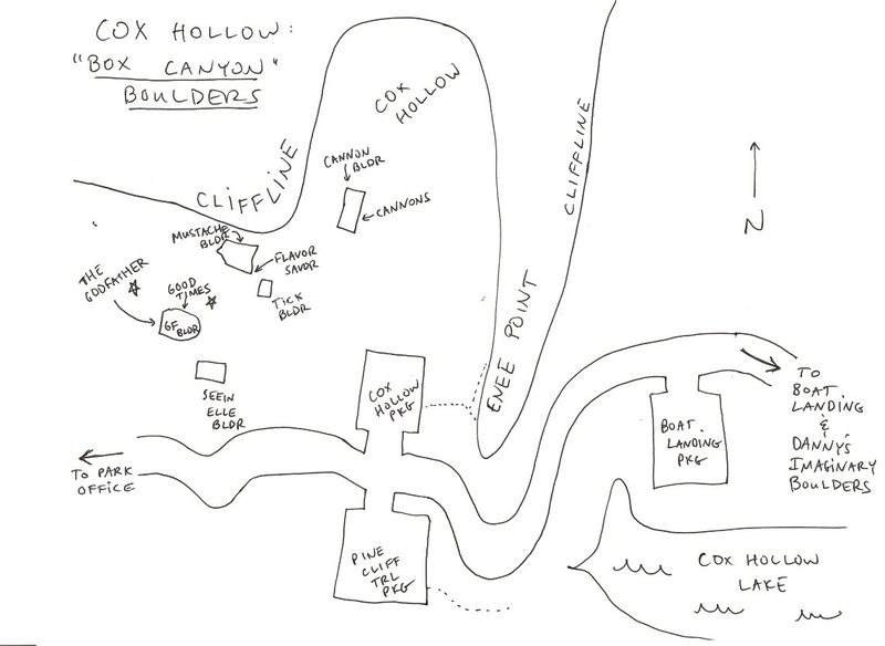 "Schema of Cox Hollow/Box Canyon Boulders.  My memory may be off, please correct where imperfect.  ""Not for navigational purposes""."