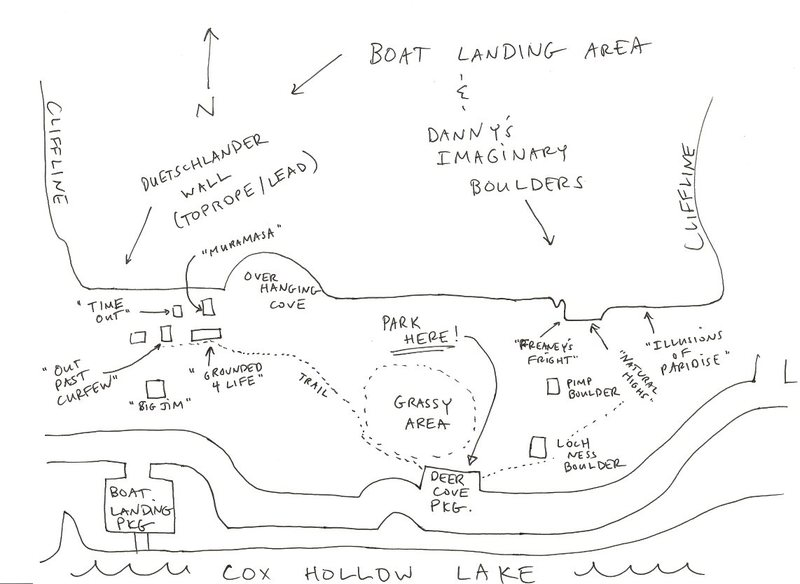 Boat Landing and Danny's Imaginary Boulders.  In reality it's a little more stretched out, so if you park at the Boat Landing, you have to walk a little more east along the road to get to the boulders.  Should be good if you park at Deer Cove.