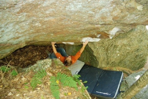 Rock Climbing Photo: Hard first move!