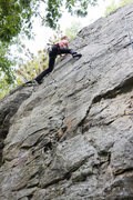 Rock Climbing Photo: Meliss is pulling moves near the top of Leftwing