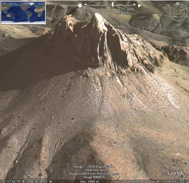 Rock Climbing Photo: Steeple Rock, Virden NM. Google 3D rendering.