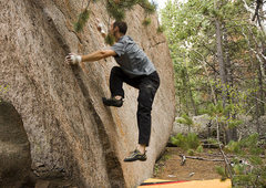 Rock Climbing Photo: Mark trying all kinds of interesting moves to get ...