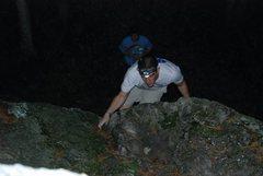Rock Climbing Photo: Coming up through the crux at night.