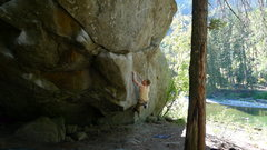 Rock Climbing Photo: The Footless Traverse V5 at Leavenworth, WA.