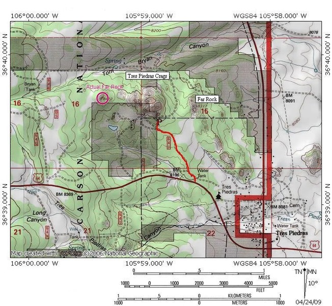 USGS Topo Map for area.  Hard to say if this independent map confirms the description of boundaries.  This is the same as the map available at the ranger station.  According to this, the boundary is closer to the base of Mosaic Rock.  Regardless, private and public property is to be respected.