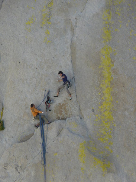Two climbers about to have a not so fun time on Atlantis<br> Photo by Darshan Ahluwalia<br>