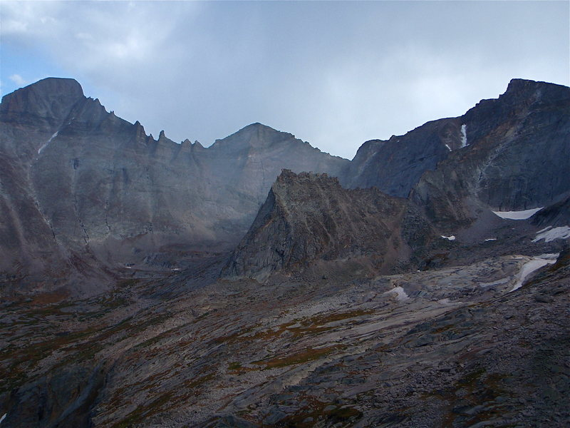 The east to central side of upper Glacier Gorge. From left to right, Long's, Keyboard of the Winds, Pagoda, Spearhead and Chiefshead.