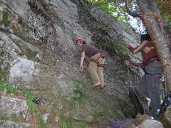 Rock Climbing Photo: me climing in bare feet