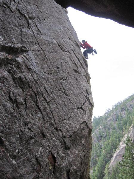 Rock Climbing Photo: Jesse Ramos working the arete of Irish Spring.