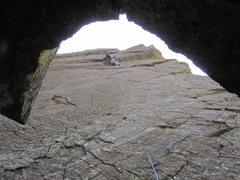 Rock Climbing Photo: Pulling through a bulge on Irish.  Photo by Jesse ...