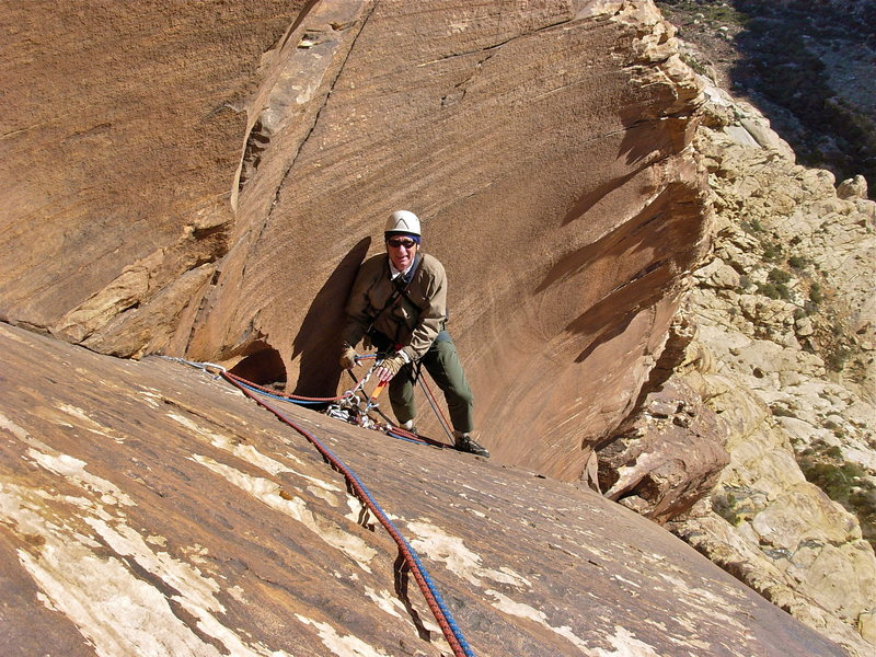 Rock Climbing Photo: Maurice Horn belaying at the top of the second pit...