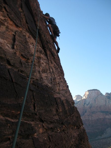 Rock Climbing Photo: Jonny on p2 of Ashtar Command Tower. Photo by Gigi...