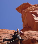 Rock Climbing Photo: Manny Rangle on the 1st pitch. (almost a crux betw...