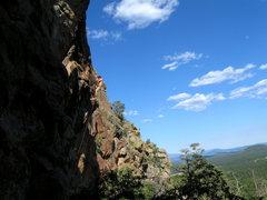 Rock Climbing Photo: Colin up high on Snake Legs.