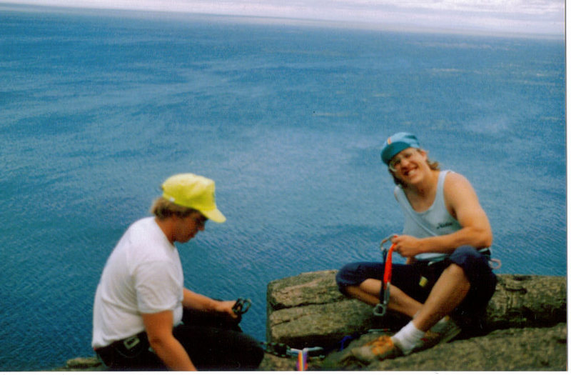 Rock Climbing Photo: Me and my twin bro Tony on top of Palisade Head MN...