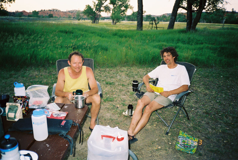 Dave Rone and Jerry Wingenter relaxing at Devil's Tower campground 03.